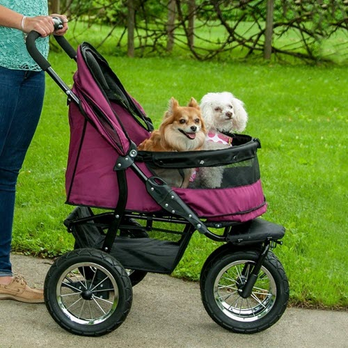 Double no zip prams for carrier folding 3 wheels cat dog travel strolling carriage cart cons
